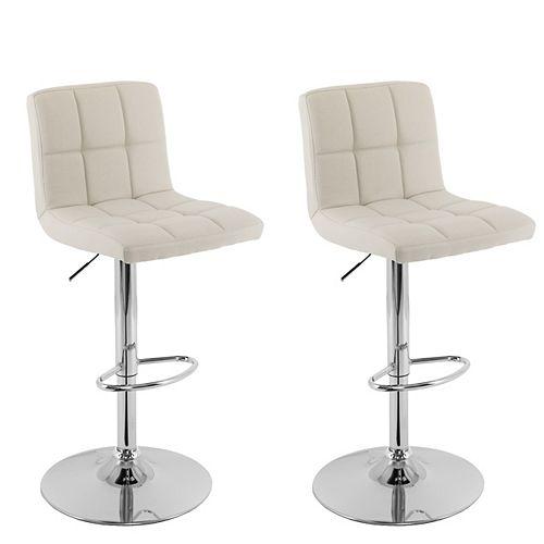 Mid Back Square Panel Oatmeal Fabric Adjustable Barstool, (Set of 2)