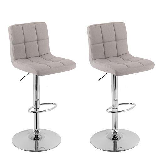 Mid Back Square Panel Light Grey Fabric Adjustable Barstool, (Set of 2)