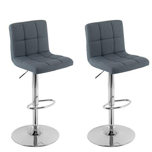 Mid Back Square Panel Blue-Grey Fabric Adjustable Barstool, (Set of 2)