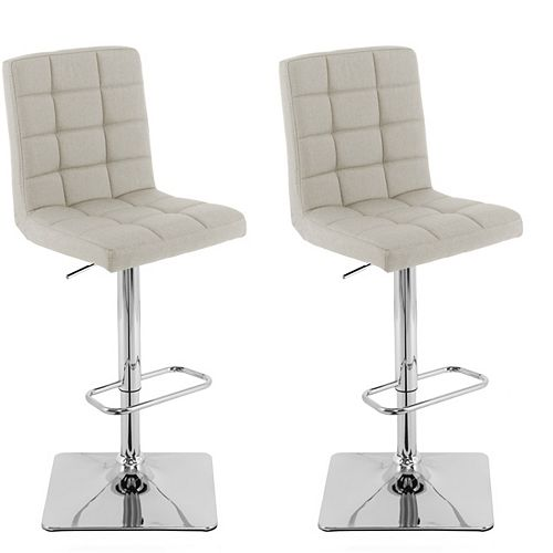 Heavy Duty Gas Lift Adjustable Barstool in Tufted Oatmeal Fabric, (Set of 2)