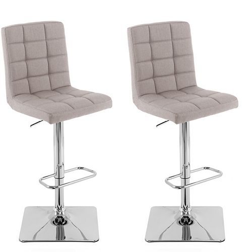 Heavy Duty Gas Lift Adjustable Barstool in Tufted Light Grey Fabric, (Set of 2)