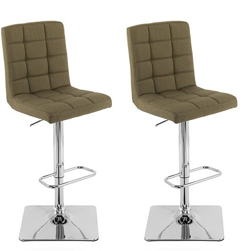 Heavy Duty Gas Lift Adjustable Barstool in Tufted Olive Green Fabric, (Set of 2)