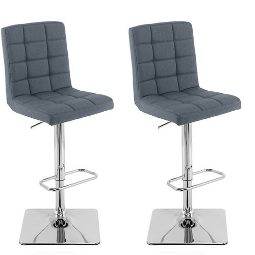 Heavy Duty Gas Lift Adjustable Barstool in Tufted Blue-Grey Fabric, (Set of 2)