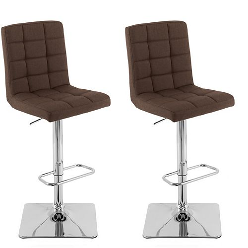 Heavy Duty Gas Lift Adjustable Barstool in Tufted Dark Brown Fabric, (Set of 2)