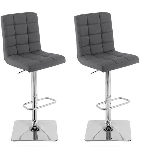Heavy Duty Gas Lift Adjustable Barstool in Tufted Dark Grey Fabric, (Set of 2)