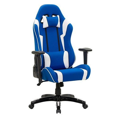 Blue and White High Back Ergonomic Gaming Chair
