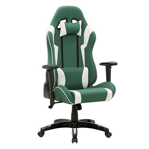 Green and White High Back Ergonomic Gaming Chair