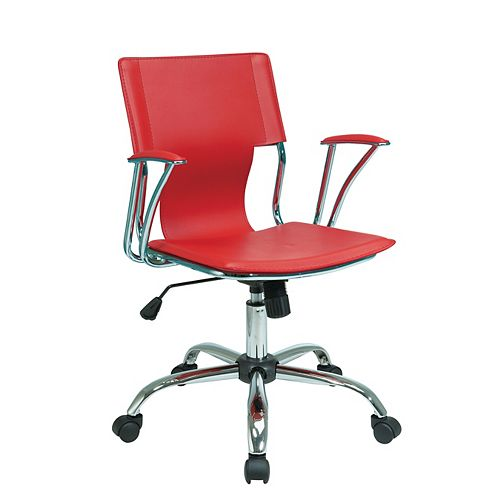 Ave Six Dorado Office Chair in Red Vinyl and Chrome Finish