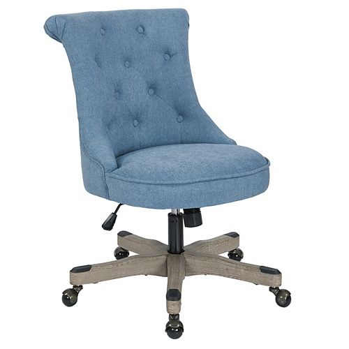 Hannah Tufted Office Chair in Sky Fabric with Grey wood Base