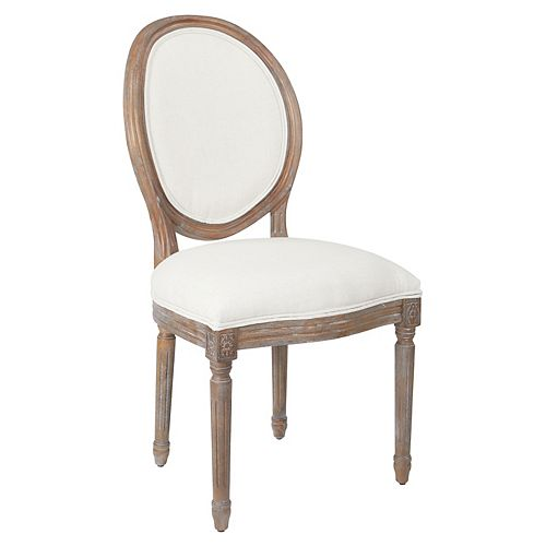 Lillian Oval Back Chair in Linen Brushed Frame