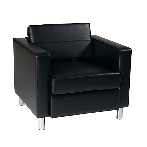 Pacific Arm Chair In Black Faux Leather