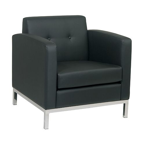 Wall Street Arm Chair in Black Faux Leather