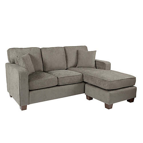 Russell Sectional in Taupe fabric with 2 Pillows and Coffee Finished Legs