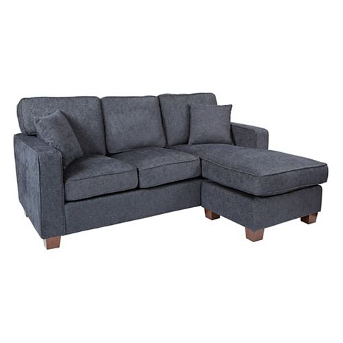 Russell Sectional in Navy fabric with 2 Pillows and Coffee Finished Legs