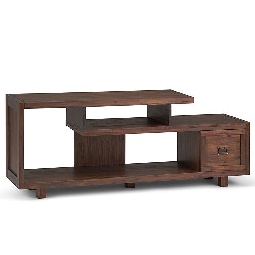 Monroe Solid Acacia Wood TV Media Stand in Distressed Charcoal Brown For TVs upto 66 inches