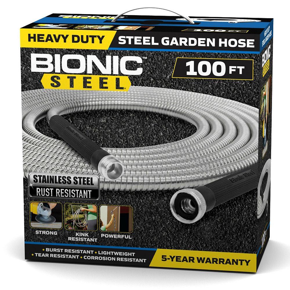 Bionic Steel Bionic Steel 100 Foot Garden Hose, 304 Stainless Steel Metal Hose  Super Tough & Flexible Water Hose
