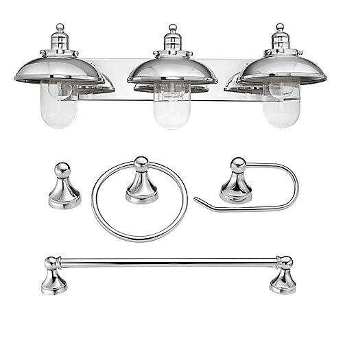 Quincail. de salle de bains tout-en-un avec luminaire pour meuble-lavabo Freemont, chrome, ens. de 4