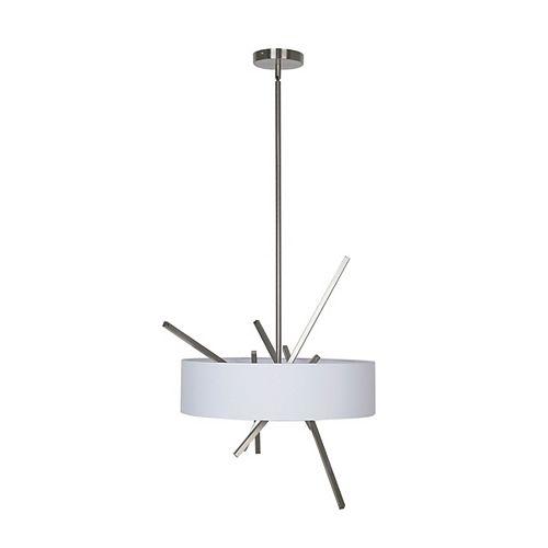 Lumirama Calabria - 3 Light Chandelier With White Shade And Satin Nickel