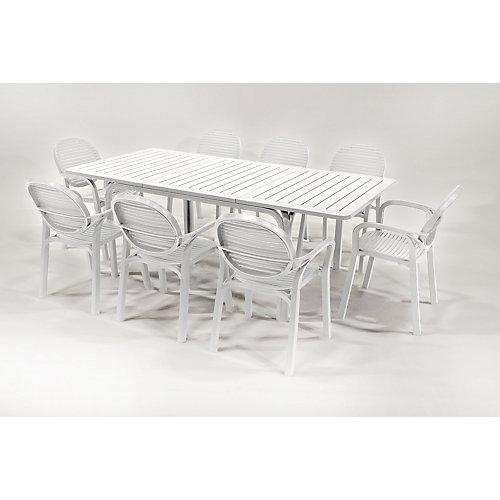 Ensemble de patio Allora/Gardenia de 9 pièces - Blanc Tortora