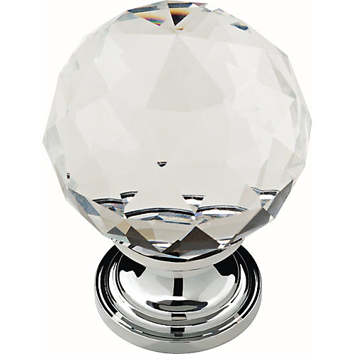 Nora 1-3/16 inch (30mm) Chrome and Clear Crystal Cabinet Knob (4-Pack)