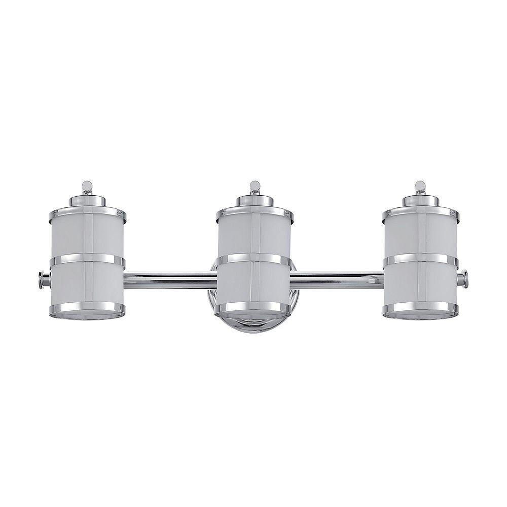 Globe Electric Vanité à 3 lumières, collection Kennewick, chrome poli