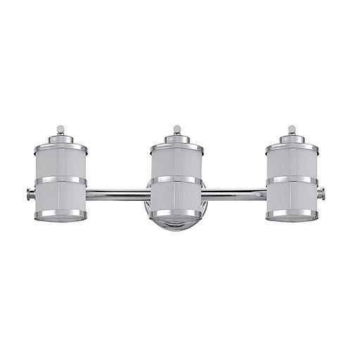 Globe Electric Kennewick 3-Light Polished Chrome Vanity Bath Light