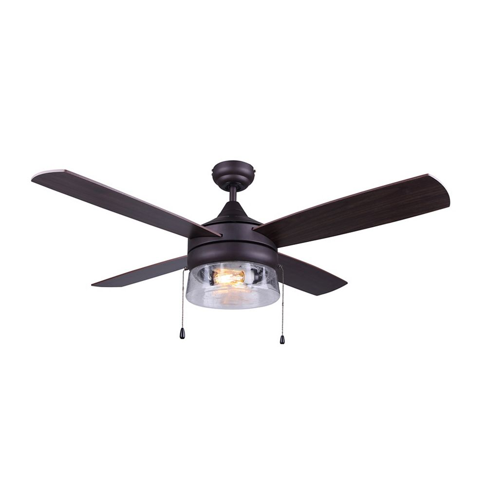 Canarm MILL 48 inch Oil Rubbed Bronze Ceiling Fan with Seeded Glass