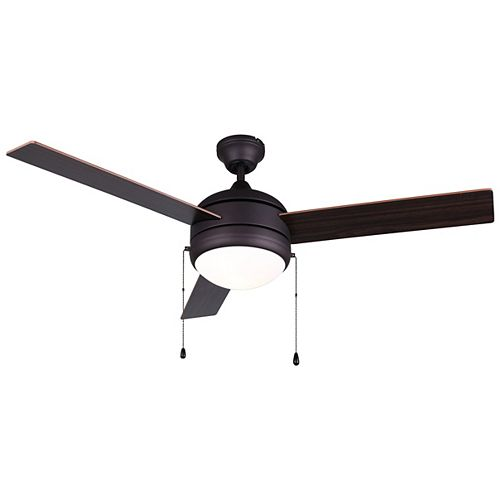 CALIBRE 48-inch Oil Rubbed Bronze Ceiling Fan with Flat Opal Glass