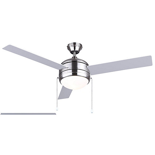 CALIBRE 48-inch Brushed Nickel Ceiling Fan with Flat Opal Glass