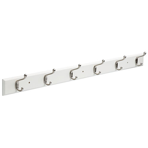 45 inch White and Satin Nickel Coat and Hat Hook Rack