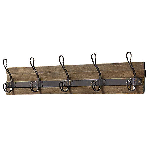 27-inch Rustic Pine and Distressed Brass Hook Rack