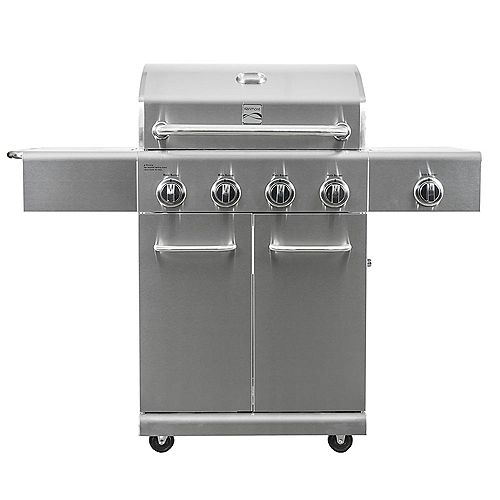 4 Burner Propane BBQ in Stainless Steel with Side Burner