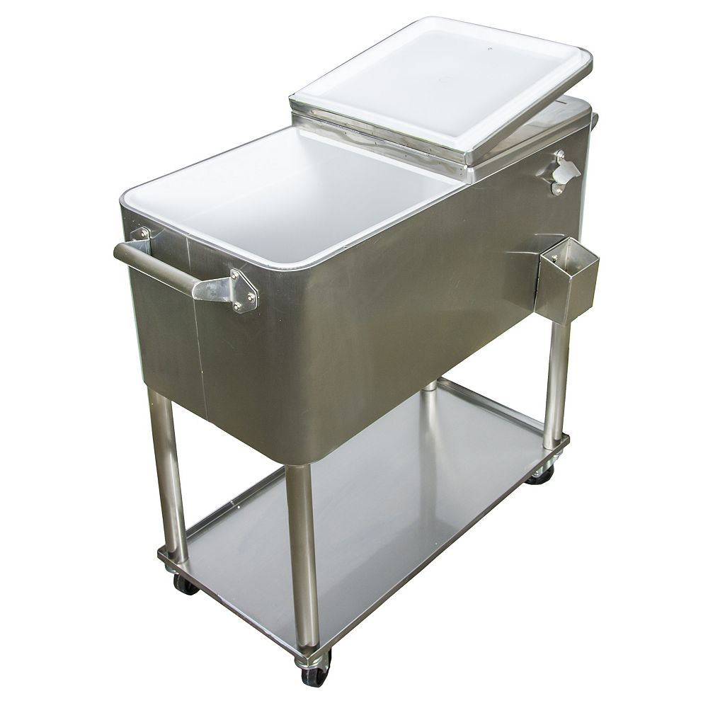 Permasteel Patio Cooler Furniture Style 80QT - Stainless Steel