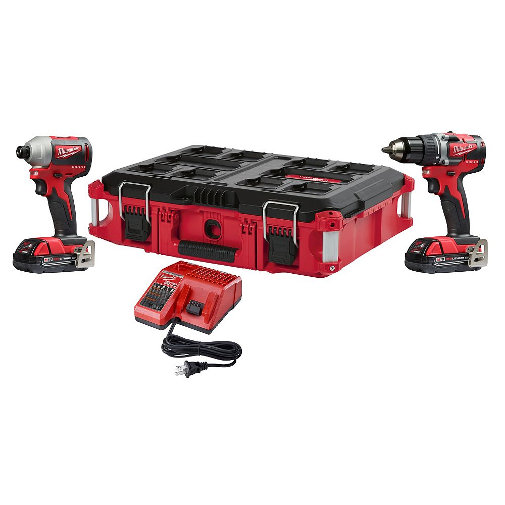 Milwaukee Tool Ensemble perceuse et tournevis à percussion sans fil au Li-ion M18 avec 2 piles 2 A et sac, 18 V
