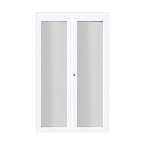 "24"" Modern European Off-White Bi-fold Closet Door 1 Frosted Glass Lite"