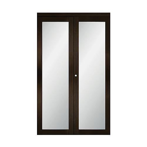 "36"" Modern European Espresso Bi-fold Closet Door 1 Frosted Glass Lite"