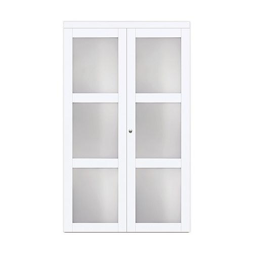 """24"""" Modern European Off-White Bi-fold Closet Door 3 Frosted Glass Lite"""