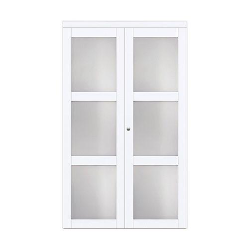 """30"""" Modern European Off-White Bi-fold Closet Door 3 Frosted Glass Lite"""