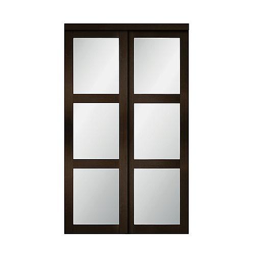 "60"" Modern European Espresso Sliding Closet Door 3 Frosted Glass Lite"