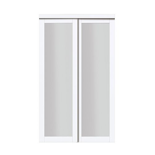 "48"" Modern European Off-White Sliding Closet Door 1 Frosted Glass Lite"