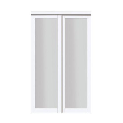 "60"" Modern European Off-White Sliding Closet Door 1 Frosted Glass Lite"
