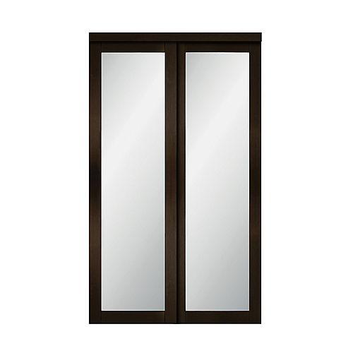 "48"" Modern European Espresso Sliding Closet Door 1 Frosted Glass Lite"