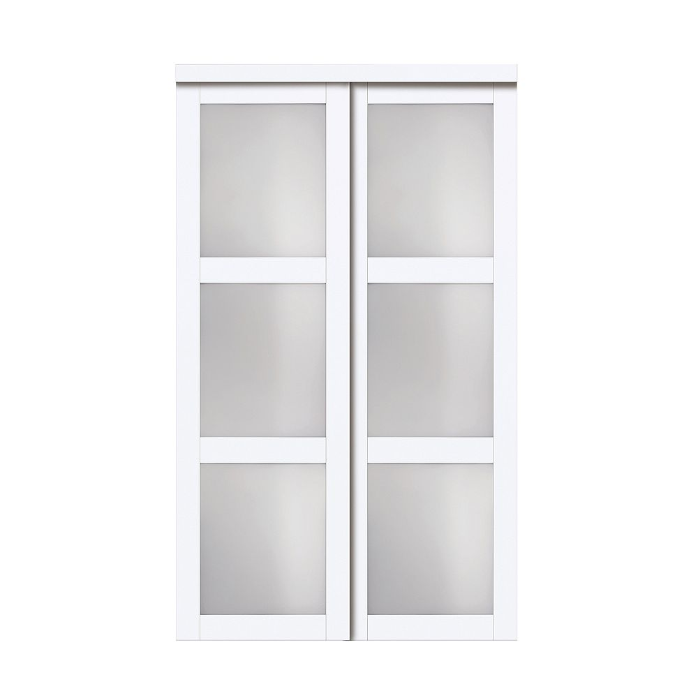Truporte 48 Modern European Off White Sliding Closet Door 3 Frosted Glass Lite The Home Depot Canada