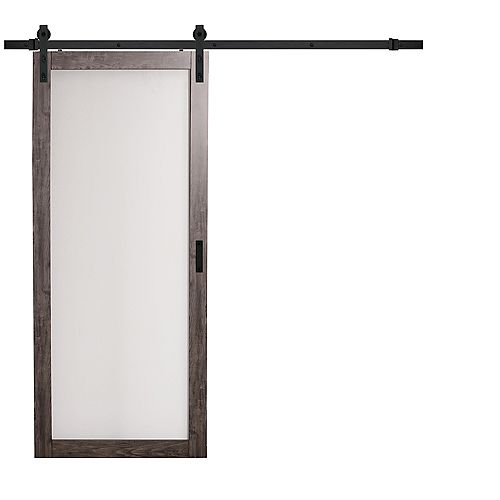 36 inch x 84 inch Iron Age 1 Lite Frosted Glass Rustic Barn Door w. Modern Sliding Door Hardware Kit