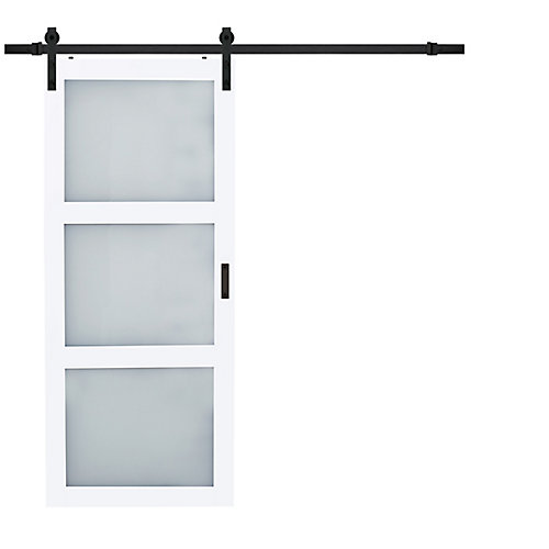 36 inch x 84 inch White 3 Lite Frosted Glass Rustic Barn Door with Modern Sliding Door Hardware Kit