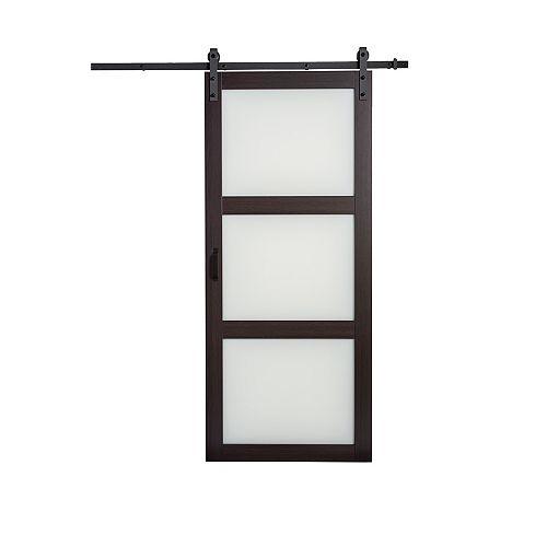 36 inch x 84 inch Espresso 3 Lite Frosted Glass Rustic Barn Door with Modern Sliding Door Hardware Kit