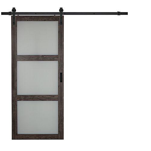 Porte coulissante Iron Age 3 Lite verre givré de 36 x 84 po avec quincaillerie de porte coulissante