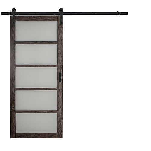 36 inch x 84 inch Iron Age 5 Lite Frosted Glass Rustic Barn Door with Modern Sliding Door Hardware Kit