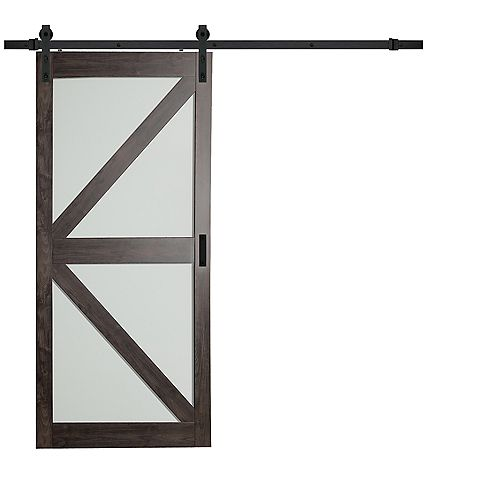 36 inch x 84 inch Iron Age K Lite Frosted Glass Rustic Barn Door with Modern Sliding Door Hardware Kit