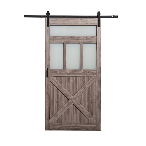 42 inch x 84 inch Silver Oak 3 Lite Frosted Glass Rustic Barn Door w. Modern Sliding Door Hardware Kit